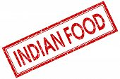 Indian Food Red Square Stamp Isolated On White Background
