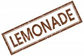 Lemonade Brown Square Stamp Isolated On White Background