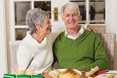 Portrait of a happy senior couple hugging at home in the living room
