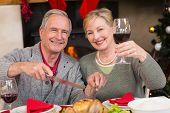 Man carving chicken while his wife drinking red wine at home in the living room