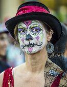 Woman In Dia De Los Muertos Makeup