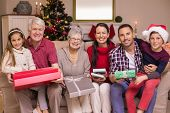 image of extended family  - Happy extended family looking at camera at christmas time at home in the living room - JPG