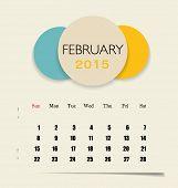 2015 calendar, monthly calendar template for February. Vector illustration.