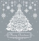 Vintage xmas greeting with decorative floral tree