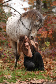foto of appaloosa  - Pretty young woman with appaloosa horse in autumn