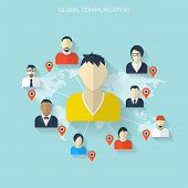 stock photo of avatar  - Flat social media and network concept - JPG