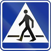 stock photo of pedestrian crossing  - Polish traffic sign - JPG