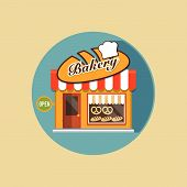pic of local shop  - Vector modern flat design square architecture web icon on retro style local bakery shop yellow facade with awning and bakery products is exposed in the window - JPG