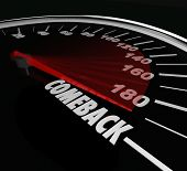 pic of speedometer  - Comeback word on a speedometer to illustrate bouncing back to win a competition after a problem - JPG