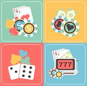 picture of poker machine  - Colorful set of Casino elements with playing cards - JPG