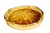 Quiche Lorraine on the cutting board,close up,isolated