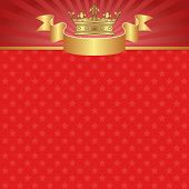 stock photo of crown  - red background with crown and stars   - JPG
