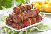 stock photo of grill  - Grilled kebab with red pepper and pineapple - JPG
