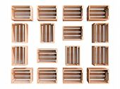 pic of wooden crate  - A composition of isolated empty wooden fruit crates - JPG