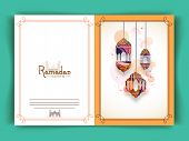 picture of ramazan mubarak card  - Greeting card decorated with colourful lanterns for Islamic holy month of prayers - JPG
