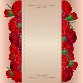 Beige background with red carnations foto.