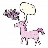 stock photo of unicorn  - cartoon magical unicorn with speech bubble - JPG