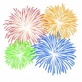 stock photo of firework display  - vector Firework Display for new year and all party - JPG