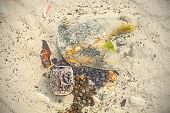 pic of water pollution  - Garbage in shallow water beach polluted by people environmental pollution concept - JPG