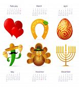 pic of hanukkah  - Holiday symbols set with calendar dates for year 2015 featuring St - JPG