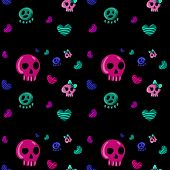 pic of emo  - seamless pattern in the style of emo skull - JPG