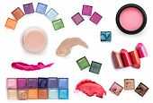 pic of blush  - set of Scratch lipstick blush on powder and make up cosmetics collection - JPG