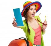image of boarding pass  - Portrait of female tourist with travel suitcase and blue boarding pass - JPG