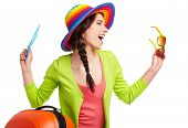 pic of boarding pass  - Portrait of female tourist with travel suitcase and blue boarding pass - JPG