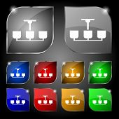 stock photo of chandelier  - Chandelier Light Lamp icon sign - JPG