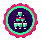 picture of champagne color  - Wedding Champagne Flat Icon With Long Shadow - JPG