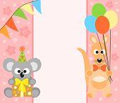 stock photo of koalas  - Happy holiday background with funny koala and kangaroo - JPG
