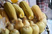 stock photo of steam  - Fresh steamed corn on basket in thailand - JPG