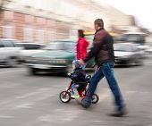 stock photo of zebra crossing  - Busy city street people on zebra crossing - JPG