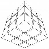 stock photo of parallelepiped  - Wireframe mesh outline cube - JPG