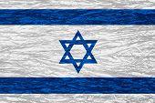 picture of israeli flag  - flag of Israel or Israeli banner on canvas texture - JPG