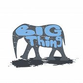 pic of blue things  - Large elephant walking with the inscription - JPG
