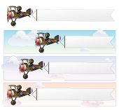 pic of fighter plane  - Set of a Vector cartoon illustrations of the British WWI fighter biplane Vickers flying with an aerial advertising banner - JPG