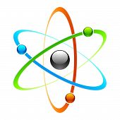 stock photo of proton  - Vector illustration of an atom symbol  - JPG