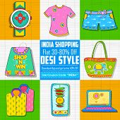 pic of indian independence day  - illustration of Happy Independence Day shopping sale in Indian kitsch style - JPG