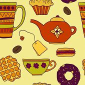 foto of teapot  - Teatime vector colorful seamless pattern with teapot mug cupcake donut macaron waffle coffee and tea - JPG
