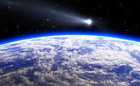 picture of comet  - Comet and blue Planet Earth - JPG
