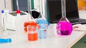 image of toxic substance  - Pharmaceutical research at the laboratory with toxic liquid substances - JPG