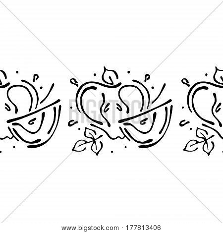 Seamless Vector Hand Drawn Fruits