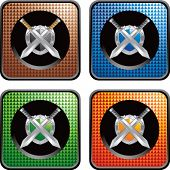 crossed swords and shield on multicolored checkered web icons