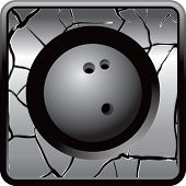 bowling ball on cracked web icon