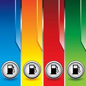 image of fuel pump  - gas or fuel icon on vertical colored banners - JPG