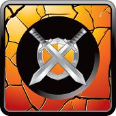 crossed swords and shield on cracked gold web button