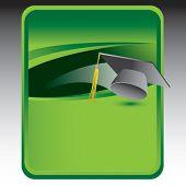 graduate tassel on green background