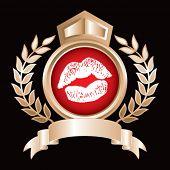 lips kissing on gold royal display
