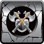 axes and shield on gray cracked web button
